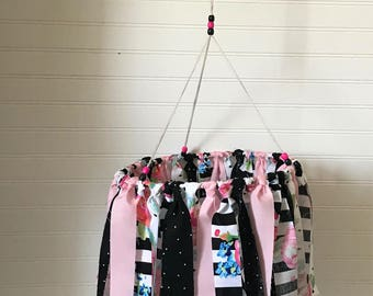 Baby Mobile / Fabric Garland Mobile / Girl Nursery Decor / Above Crib or Changing Table / Floral Pink Black White / Unique Handmade