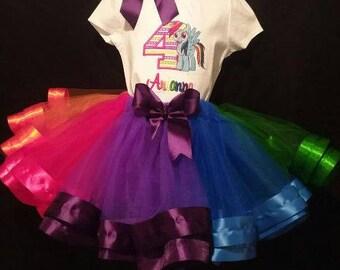 Personalized Embroidered Birthday My Little Pony Shirt/Onesie with Tutu Ribbon Trim Rainbow Dash