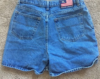 Vintage Ralph Lauren High Waisted Denim Jean Shorts with Big Flag Logo Size 10 (fits smaller)