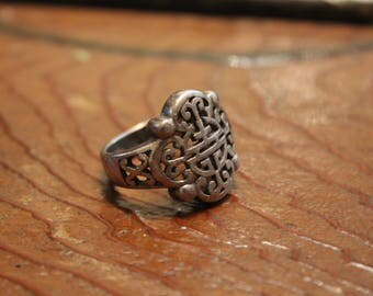 Antique Chinese Sterling Silver Symbol Ring