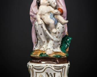 Madonna w Child Christ Antique Porcelain Statue Our Lady Virgin Mary Jesus 9