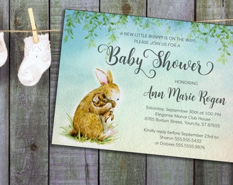 Baby Shower Invitation Printable, Baby Sprinkle Bunny Invite, customized 5x7, Printable file or Printed Cards