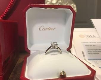 Authentic Cartier 1895 Platinum Solitaire Diamond Engagement Wedding Ring Size 4