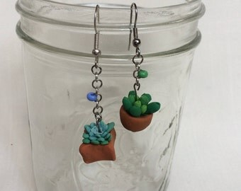 Tiny Rounded Succulent fishhook earrings