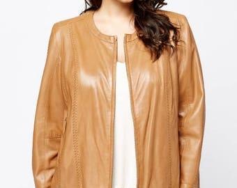 Joanna Hope Camel Leather Jacket, Real Camel Leather Jacket