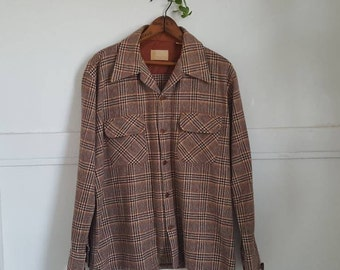 Vintage 70's Sears Brown Flannel Hunting Shirt