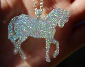 Kawaii Magical Holo Unicorn Resin Necklace Pendant