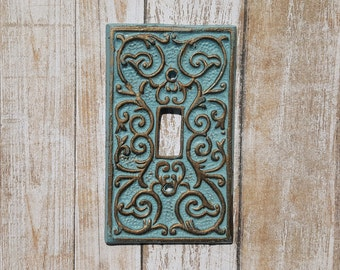 Single Light Switch Cover, Cast Iron Switch Plate, Single Toggle Switch Cover, Blue and Gold Light Switch, Home Decor, Vintage Decor