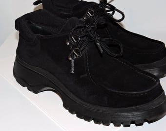 Authentic PRADA Hiking BOOT Shoes Black Suede Leather Ladies Size 36.5 (5.5 US)