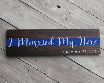 Police sign, Thin blue line sign, Police officer gifts, Cop sign, Leo wood sign, Leo family sign, police wedding gift, police wood sign