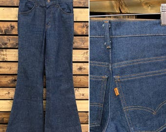 70's Levi's Orange Tab Bell Bottom Denim Jeans  | Single Digit Button Stamp | Near Deadstock
