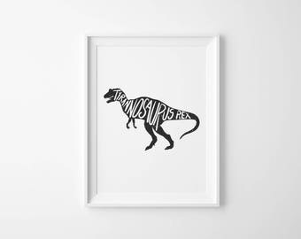 Dinosaur Print, T Rex, Custom Print, Tyrannosaurus, Nursery Decor, Bedroom Decor, Boys Room Print, Wall Art, Kids Room Decor, Bedroom Print