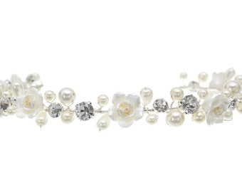Faux Pearl Flower Crystal Bridal Headband Tiara