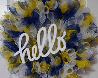 Blue, yellow, and white hello