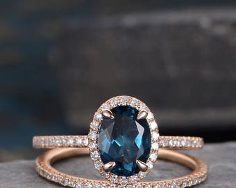London Blue Topaz Engagement Ring Set Wedding Band Woman Rose Gold Bridal Jewelry Set Diamond Oval Cut September Birthstone Anniversary Halo