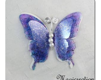 Butterfly 3D decorative silk and transparent - several colors - romantic