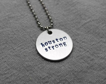 Houston Strong Necklace//Hand Stamped Necklace//Help Rebuild Houston//Hand Stamped Jewelry #houstonstrong