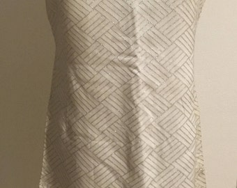 Volup Size L 1960s White Shift with Silver Metallic Thread