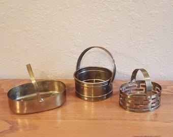 Small vintage brass baskets.  Brass and copper.  3 tiny boho baskets, planters, trinket holders