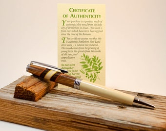 Handmade Segmented Wood Pen Bethlehem Olive Wood, Holly and African Blackwood Free Shipping in the lower 48 states