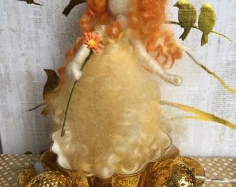 Handmade Orange and Yellow Needle Felted Merino Wool Fairy
