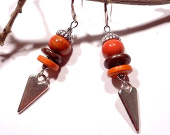 Earrings spirit rustic chic ceramic orange burnt - chocolate - orange beads, matte silver stylized heart, elegant stand