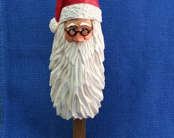 Wood Carved Santa Ornament Collectibles