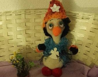 Snowman crocheted wool 32 cm.