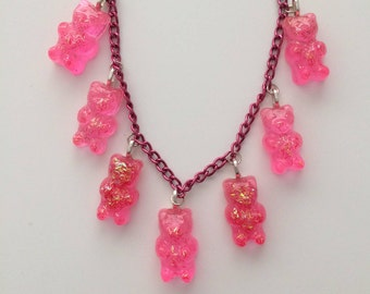 Addicted to Pink. Handmade Pink Lover Resin Gummy Bear Candy with Glitter. Magenta Cable Chain Necklace. 18 inch.