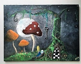 Dark Alice in Wonderland original acrylic painting L24xH18