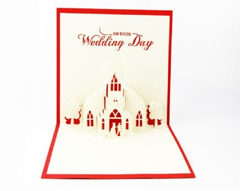 Handmade 3D pop up popup card big day church wedding anniversary Valentines party invitation engagement announcement marriage proposal card