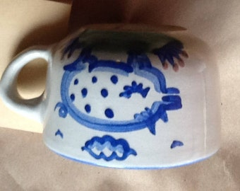 Hadley coffee cup with PIG, hand painted