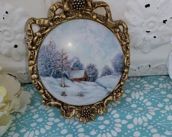 Hand Painted Porcelain Landscape Picture in Frame