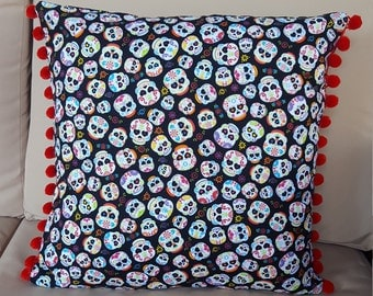 Day of the Dead sugar skull confetti luxury pillow cover with pom-pom trim