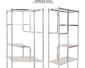 Pair of Smoked Glass & Chrome Etageres Milo Baughman Style