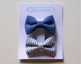 Hair bows / set of 2 / blue cotton