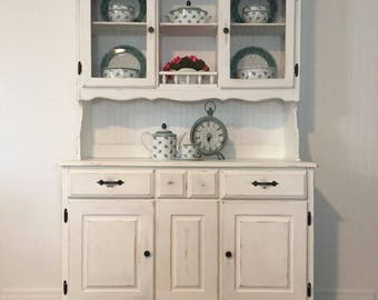 Vintage Distressed Farmhouse Style China Hutch