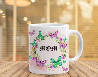 Mom Print Mug Ceramic Coffee Mug Personalized mugs Flowers Cup