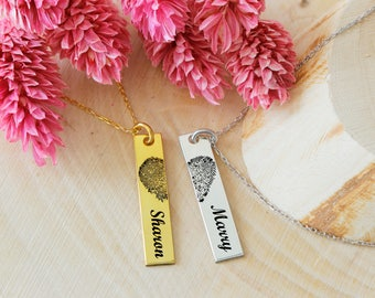 Personalized Finger Print Name Necklace, Couple Necklace, Bar Necklace, Name Necklace, Finger Print Necklace, Silver Necklace,Gold,Rose,Gift