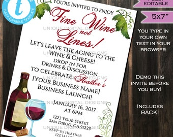 Rodan Fields Invitation Business Launch Party BBL Invite R+F Fine Wine not Fine Lines Wine & Cheese Printable R and F INSTANT Self EDITABLE