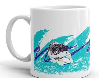 Hedgehog Surfin' Solo Adorable Art Mug of Happiness - Cute Funny Hedgehog Mug by Urchin Wear
