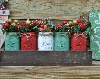 Christmas centerpiece ,Mason Jar , Christmas gift ,Season Greeti,table decor,Christmas decor