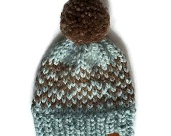 Chunky wool hat. Child's bobble hat. Toddler Pompom hat. Knitted blue bobble hat. Etton Hat.