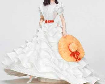 Free Shipping for Seniors! Gorgeous 1987 FRANKLIN MiNT Vivian Leigh as Scarlett O'Hara GoNE WITH THE WiND  Porcelain Figurine