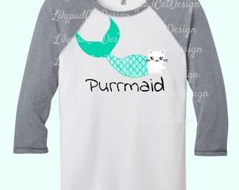 Purrmaid SVG, mermaid svg, cat mermaid svg, mermaid tail svg, cat svg, DXF,PNG, birthday shirt svg, kitty mermaid svg, mermaid cut file