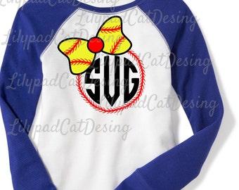 Softball Monogram SVG DXF PNG, monogram svg, softball svg, sports svg, softball shirt svg, bow svg, softball mom svg, softball clipart