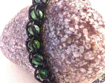 Captive Bead Chainmaille Bracelet - Captured Bead Bracelet- Goth Style Chainmaille Bracelet - Captive Bead Black on Green Chainmail Bracelet