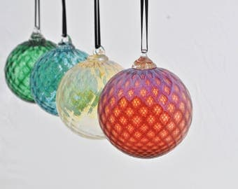 Set of Four Hand Blown Ornaments (Jewel Collection): Set of Glass Christmas Ornaments