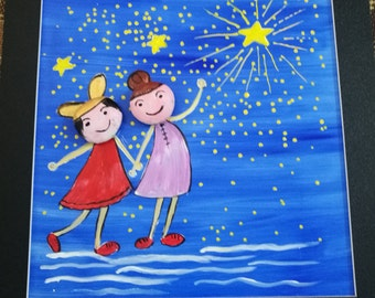 Little Girls and the Blue Sky Yellow Star Shinning/ Oil Painting mix Stone Painting Art + bonus a small cute gift