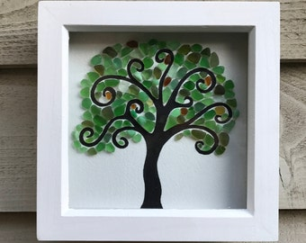 Framed Sea glass picture - Spiral tree